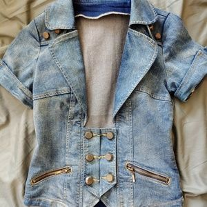 Super cute jean jacket with button embellishments